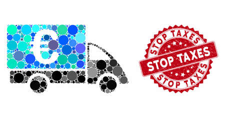 Mosaic Euro collector car and rubber stamp watermark with Stop Taxes phrase. Mosaic vector is created with Euro collector car icon and with scattered spheric spots. Stop Taxes stamp uses red color,