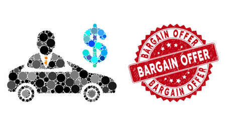 Mosaic car seller and rubber stamp seal with Bargain Offer text. Mosaic vector is created from car seller icon and with scattered round items. Bargain Offer stamp seal uses red color,