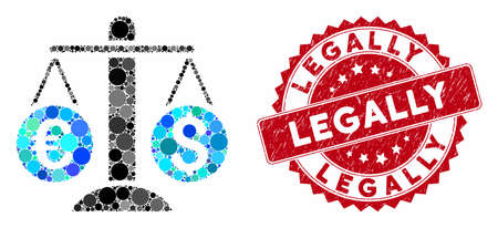 Collage currency scales and rubber stamp seal with Legally caption. Mosaic vector is created with currency scales icon and with scattered circle elements. Legally stamp seal uses red color, Illusztráció