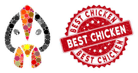 Mosaic chicken face and corroded stamp seal with Best Chicken text. Mosaic vector is composed with chicken face icon and with scattered circle elements. Best Chicken seal uses red color,