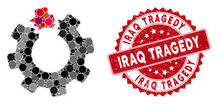 Mosaic broken cog and grunge stamp seal with Iraq Tragedy text. Mosaic vector is formed from broken cog icon and with randomized round items. Iraq Tragedy stamp seal uses red color, 일러스트