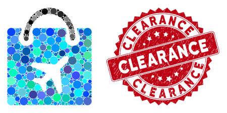 Mosaico duty free shopping e filigrana timbro in difficoltà con didascalia Clearance. Il vettore di mosaico è progettato con l'icona dello shopping duty free e con oggetti sferici sparsi.