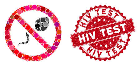 Mosaic contraception and rubber stamp seal with HIV Test caption. Mosaic vector is composed from contraception icon and with scattered spheric spots. HIV Test stamp seal uses red color, Stock Illustratie