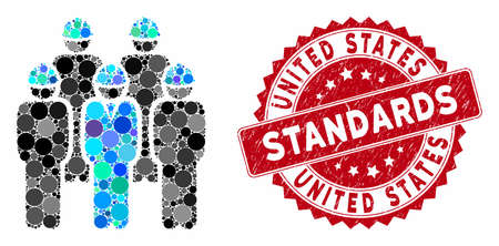 Mosaic developer staff and rubber stamp seal with United States Standards phrase. Mosaic vector is created with developer staff icon and with randomized circle elements.