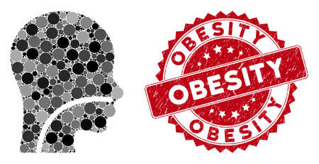 Mosaic patient and rubber stamp watermark with Obesity phrase. Mosaic vector is created with patient icon and with random circle spots. Obesity stamp seal uses red color, and rubber surface.