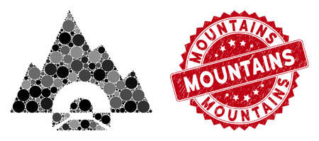Mosaic mountain tunnel and grunge stamp seal with Mountains text. Mosaic vector is composed from mountain tunnel icon and with randomized round elements. Mountains stamp seal uses red color,
