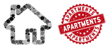 Mosaic home and distressed stamp seal with Apartments caption. Mosaic vector is composed with home icon and with randomized spheric elements. Apartments stamp seal uses red color, and dirty design.
