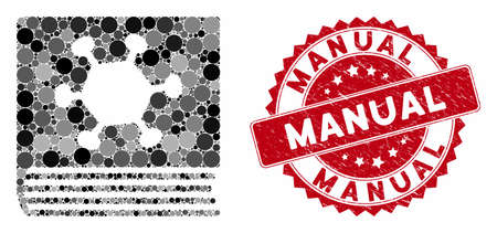 Mosaic parasite encyclopedia and grunge stamp seal with Manual phrase. Mosaic vector is created with parasite encyclopedia icon and with scattered round spots. Manual stamp seal uses red color,