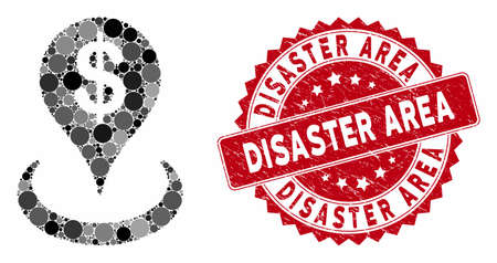 Mosaic geo targeting and corroded stamp seal with Disaster Area phrase. Mosaic vector is created with geo targeting icon and with randomized circle items. Disaster Area seal uses red color, 일러스트