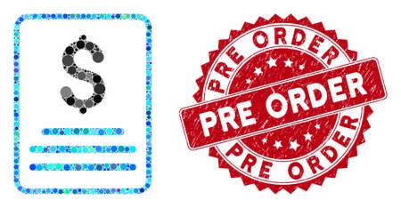 Mosaikrechnung und Distressed-Stempelsiegel mit Pre-Order-Phrase. Der Mosaikvektor besteht aus einem Rechnungssymbol und verstreuten kugelförmigen Elementen. Das Vorbestellungssiegel verwendet rote Farbe und Grunge-Textur.