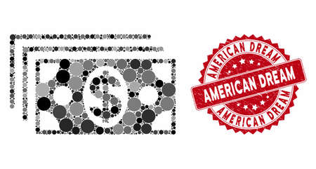 Collage dollar banknotes and corroded stamp seal with American Dream caption. Mosaic vector is created with dollar banknotes icon and with random round spots. American Dream stamp seal uses red color, Çizim