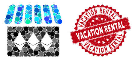 Mosaic jewelry shop and distressed stamp seal with Vacation Rental phrase. Mosaic vector is created with jewelry shop icon and with scattered round items. Vacation Rental stamp seal uses red color,