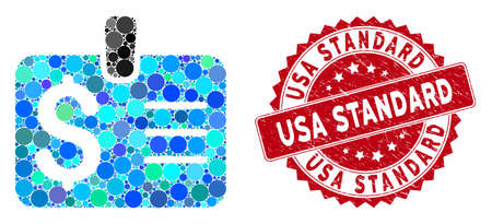 Mosaic dollar badge and distressed stamp seal with USA Standard caption. Mosaic vector is created with dollar badge icon and with random spheric spots. USA Standard stamp uses red color,