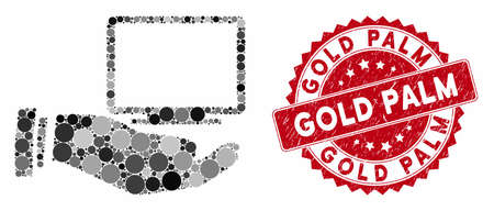 Mosaic computer offer hand and corroded stamp seal with Gold Palm caption. Mosaic vector is created with computer offer hand icon and with scattered round items. Gold Palm stamp uses red color,