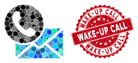 Mosaic contacts and grunge stamp watermark with Wake-Up Call text. Mosaic vector is composed with contacts icon and with randomized circle items. Wake-Up Call stamp seal uses red color,