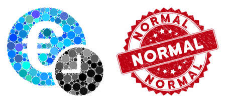 Mosaic Euro credit and corroded stamp seal with Normal caption. Mosaic vector is designed from Euro credit icon and with random spheric spots. Normal stamp seal uses red color, and grunge texture.