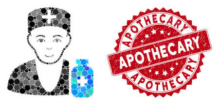 Mosaic apothecary doctor and corroded stamp seal with Apothecary caption. Mosaic vector is created from apothecary doctor icon and with randomized spheric elements. Ilustração