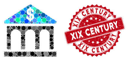 Mosaic classic bank building and grunge stamp watermark with XIX Century caption. Mosaic vector is created with classic bank building icon and with scattered round spots.