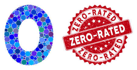 Mosaic 0 digit and corroded stamp watermark with Zero-Rated phrase. Mosaic vector is designed with 0 digit icon and with random spheric elements. Zero-Rated stamp seal uses red color,
