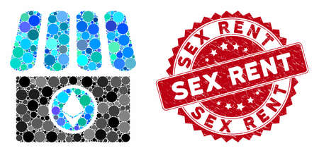 Mosaic Ethereum shop and grunge stamp seal with Sex Rent text. Mosaic vector is composed with Ethereum shop icon and with randomized circle spots. Sex Rent seal uses red color, and distress surface. Ilustrace