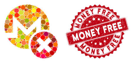 Mosaic wrong Monero and distressed stamp watermark with Money Free caption. Mosaic vector is formed with wrong Monero icon and with scattered round spots. Money Free stamp seal uses red color, Фото со стока - 133430552