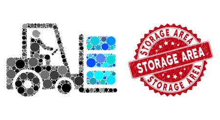 Mosaic forklift and corroded stamp seal with Storage Area caption. Mosaic vector is formed with forklift icon and with randomized circle spots. Storage Area seal uses red color, and scratched design. 일러스트