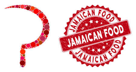 Mosaic sickle and corroded stamp seal with Jamaican Food caption. Mosaic vector is formed with sickle icon and with randomized spheric items. Jamaican Food stamp seal uses red color,