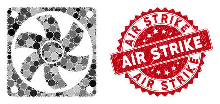 Mosaic computer cooler and rubber stamp seal with Air Strike caption. Mosaic vector is created with computer cooler icon and with randomized round items. Air Strike stamp seal uses red color,