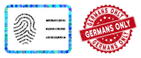 Mosaic biometric account and grunge stamp seal with Germans Only text. Mosaic vector is created with biometric account icon and with randomized spheric items. Germans Only stamp seal uses red color,