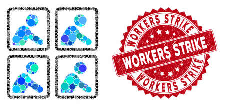 Mosaic workers and rubber stamp seal with Workers Strike phrase. Mosaic vector is composed with workers icon and with scattered circle elements. Workers Strike stamp uses red color, Illusztráció