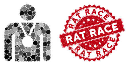 Mosaic champion and rubber stamp seal with Rat Race text. Mosaic vector is created with champion icon and with scattered round spots. Rat Race stamp seal uses red color, and distress surface.