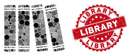 Mosaic anamnesis books and rubber stamp seal with Library text. Mosaic vector is designed with anamnesis books icon and with scattered spheric spots. Library stamp seal uses red color, Ilustrace