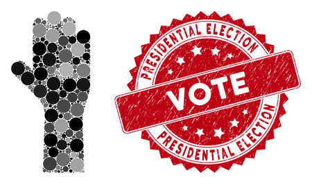 Mosaic vote hand and grunge stamp seal with Presidential Election Vote phrase. Mosaic vector is designed with vote hand icon and with scattered spheric items.