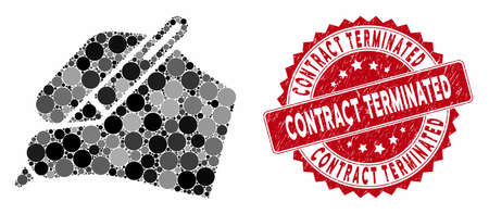 Mosaic signature hand and grunge stamp seal with Contract Terminated phrase. Mosaic vector is formed with signature hand icon and with scattered circle spots. Contract Terminated seal uses red color, Ilustrace