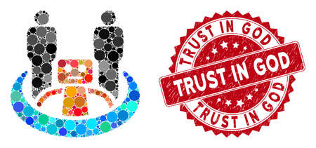Mosaic robot union and distressed stamp seal with Trust in God phrase. Mosaic vector is formed with robot union icon and with randomized round items. Trust in God stamp uses red color,