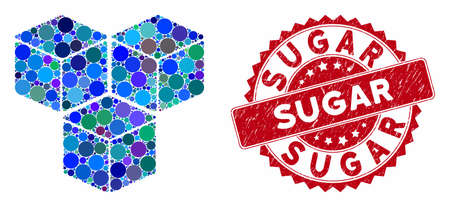 Mosaic sugar cubes and corroded stamp watermark with Sugar text. Mosaic vector is created with sugar cubes icon and with scattered round items. Sugar stamp seal uses red color, and distress texture. Иллюстрация