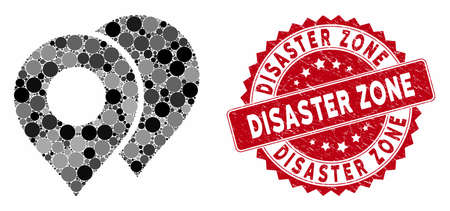 Mosaic map markers and distressed stamp watermark with Disaster Zone caption. Mosaic vector is created with map markers icon and with scattered circle elements. 일러스트