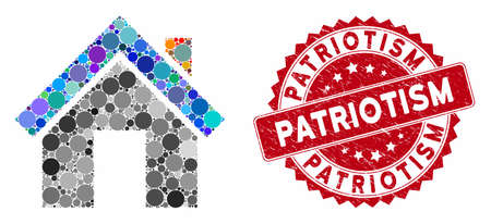 Mosaic home and rubber stamp seal with Patriotism text. Mosaic vector is formed with home icon and with randomized round spots. Patriotism stamp uses red color, and distress surface. 일러스트