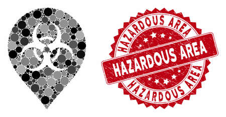 Mosaic biohazard marker and rubber stamp seal with Hazardous Area caption. Mosaic vector is created with biohazard marker icon and with scattered round spots. Hazardous Area stamp seal uses red color,