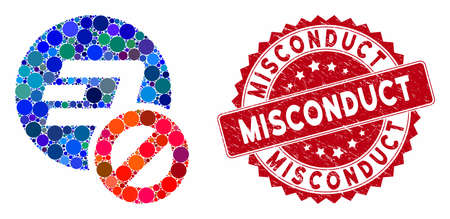 Mosaic forbidden Dashcoin and grunge stamp seal with Misconduct caption. Mosaic vector is designed with forbidden Dashcoin icon and with scattered spheric spots. Misconduct stamp seal uses red color, Фото со стока - 133430591