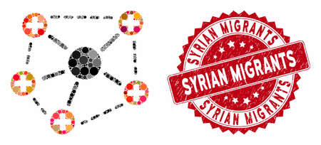 Collage medical network structure and corroded stamp seal with Syrian Migrants caption. Mosaic vector is designed with medical network structure icon and with scattered circle elements. Illustration