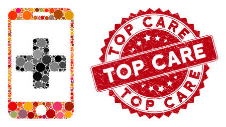 Mosaic mobile medical help and rubber stamp seal with Top Care caption. Mosaic vector is created from mobile medical help icon and with randomized round items. Top Care stamp uses red color, Ilustração