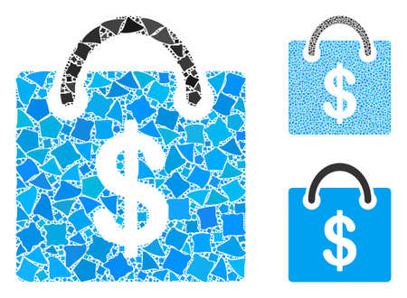 Shopping bag mosaic of humpy pieces in different sizes and color tints, based on shopping bag icon. Vector bumpy pieces are grouped into collage. Shopping bag icons collage with dotted pattern. Ilustração
