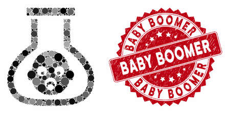 Mosaic test tube baby and corroded stamp seal with Baby Boomer caption. Mosaic vector is created with test tube baby icon and with randomized round items. Baby Boomer stamp seal uses red color, Stock Illustratie