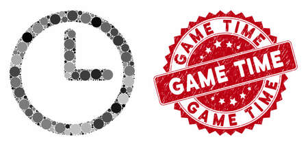 Mosaic time and grunge stamp seal with Game Time text. Mosaic vector is formed with time icon and with randomized round spots. Game Time stamp seal uses red color, and rubber surface.