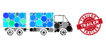 Collage trailer and rubber stamp seal with Trailer caption. Mosaic vector is created with trailer icon and with randomized circle spots. Trailer stamp seal uses red color, and rubber design. Stock Vector - 133430610