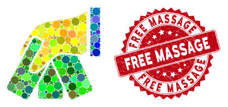 Mosaic banknotes payment hand and grunge stamp seal with Free Massage caption. Mosaic vector is composed from banknotes payment hand icon and with scattered circle items.