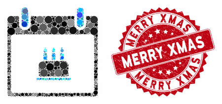 Mosaic birthday cake calendar day and grunge stamp seal with Merry Xmas caption. Mosaic vector is formed with birthday cake calendar day icon and with random circle items. Archivio Fotografico - 133409563
