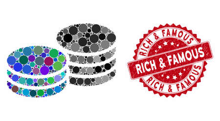 Mosaic coins and distressed stamp seal with Rich & Famous caption. Mosaic vector is formed from coins icon and with random round items. Rich & Famous stamp seal uses red color, and scratched texture.