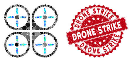 Mosaic copter and rubber stamp seal with Drone Strike phrase. Mosaic vector is composed with copter icon and with random circle items. Drone Strike stamp seal uses red color, and distress texture.